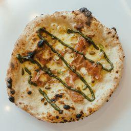 Pizza Mortadela y Pistacho