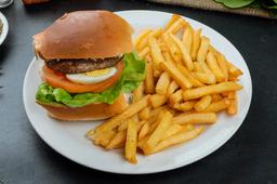 Hamburguesa al Pan con Fritas