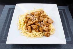 Spaghetti con Pollo al Ajillo