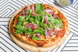 Pizzeta Muzzarella, Bondiola y Rúcula