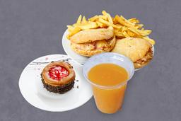 2 Pitas Rellenas + Ensalada o Fritas + Bebida + Postre