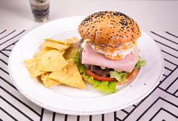 Hamburguesa Doble Carne + Acompañamiento