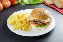 🍔 Hamburguesa al Pan + Fritas