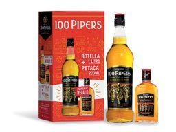 Whisky 100 Pipers Deluxe 1 Lt. + Petaca