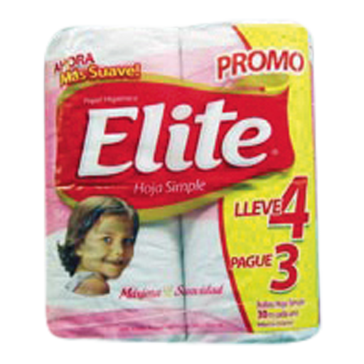 Elite Papel Higienico Hoja Simple 30 Mt X 4 Con Aloe