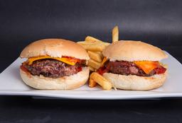 2x1 Burger Cheddar & Bacon con Papas Fritas