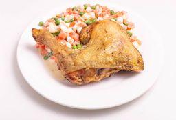Muslo de pollo + Guarnición y Postre