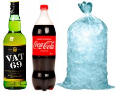 Whisky Vat 69 Litro + Coca Cola 1,5 + Hielo bolsa 3 kilos