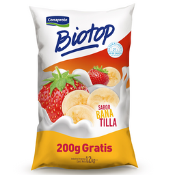 Conaprole Yogur Banana/Frutilla Biotop + 200 Grs.