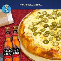 Pizzeta con Aceitunas y 2 Cervezas