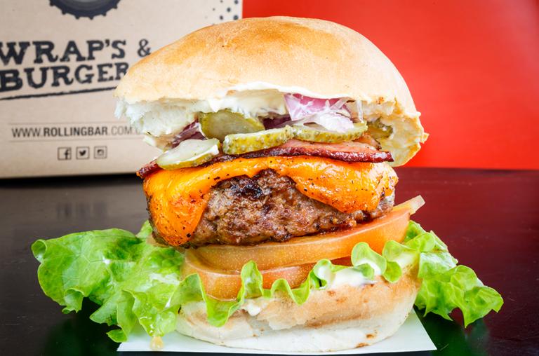 Logo Rolling Bar Wraps & Burgers